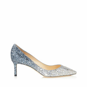 ROMY 60 Silver and Dusk Blue Fireball Glitter Dégradé Fabric Pointy Toe Pumps