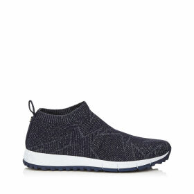 NORWAY Navy Knit and Lurex Trainers