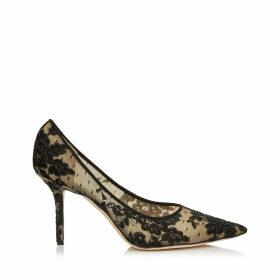LOVE 85 Black Floral Lace Pointy Toe Pumps