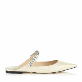 BING FLAT Linen Patent Leather Mules with Crystal Strap