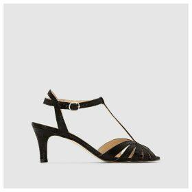 High-Heeled Soft Suede Sandals