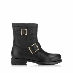 YOUTH Black Leather Biker Boots with Gold Buckles