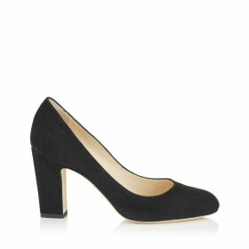 BILLIE 85 Black Suede Round Toe Pumps with Chunky Heel