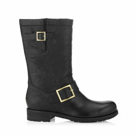 BIKER Black Biker Leather Biker Boots (Unlined)