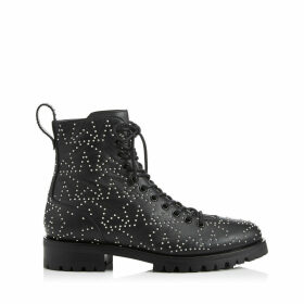 CRUZ FLAT Black and Silver Star Leather Combat Boot with Mini Studs