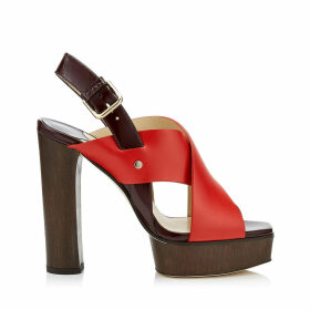 AIX/PF 125 Red Mix Vachetta Leather and Patent Strap Sandal