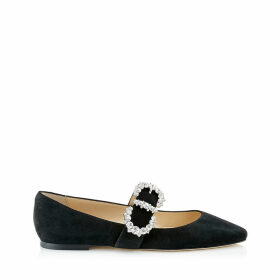 GOODWIN FLAT Black Suede Pointed Toe Ballerina Flat with Jewelled Buckle