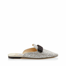 GALAXY FLAT Champagne Coarse Glitter Fabric Pointy Toe Mule with Bow