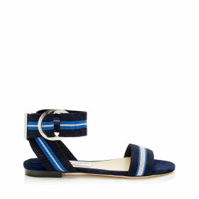 BREANNE FLAT Navy Mix Suede and Tape Sandal