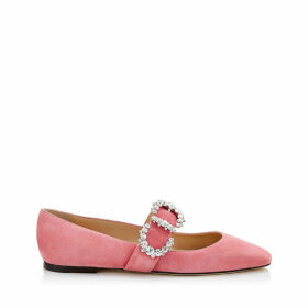 GOODWIN FLAT Candyfloss Suede Pointed Toe Ballerina Flat with Jewelled Buckle