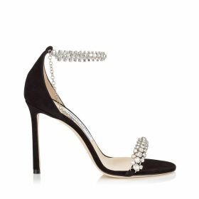 SHILOH 100 Black Suede Open Toe Sandal with Jewel Trim