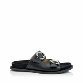 ACER FLAT Black Nappa Sandal with Crystal Buckles
