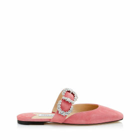 GEE FLAT Candyfloss Suede Flat Sandal with Jewelled Buckle