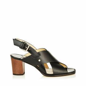 AIX 65 Black Mix Vachetta Leather and Patent Strap Sandal