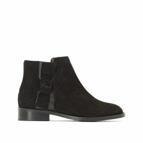 Dual Fabric Leather Ankle Boots with Bow Detail