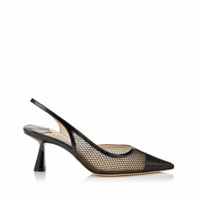 FETTO 65 Black Patent Mesh Pointed Toe Pump