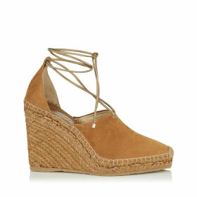 DULCET 110 Cuoio Suede and Metallic Nappa Espadrille Wedge