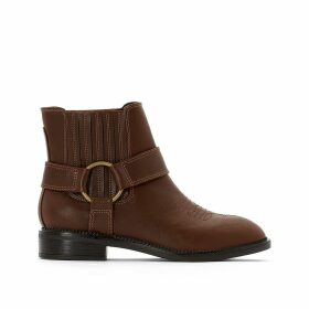 Western Ankle Boots with Gold-Coloured Buckle