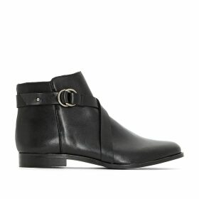 Wide Fit Leather Ankle Boots with Buckle
