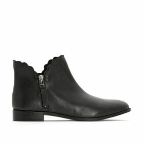 Wide Fit Leather Ankle Boots with Scalloped Edge