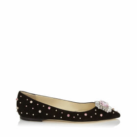ROMY FLAT Black Suede with Candyfloss Embroidered Scattered Multi Crystals and Jewel