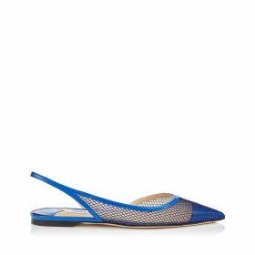 FETTO FLAT Electric Blue Patent Mesh Pointed Toe Flat