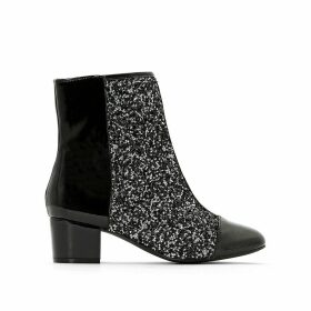 Patent and Sparkly Dual Fabric Ankle Boots