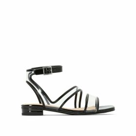 Perspex Cross Strap Sandals with Ankle Strap