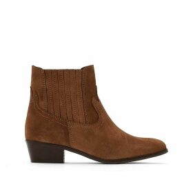 Suede Cowboy Ankle Boots with Heel