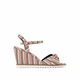 Striped High Heel Wedge Sandals