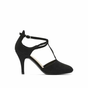 Wide Fit Faux Suede Stiletto Heels with Ankle Strap
