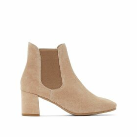 Faux Suede Chelsea Ankle Boots with Block Heel