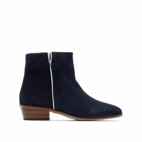 Zipped Suede Boots with Open Detail