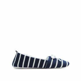 Striped Canvas Ballet Pumps