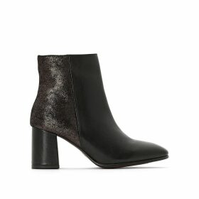 Heeled Leather Ankle Boots Exclusive to La Redoute