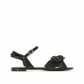 Wide Fit Bow Metallic Sandals
