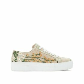 Floral Embroidered Jute Low Top Trainers