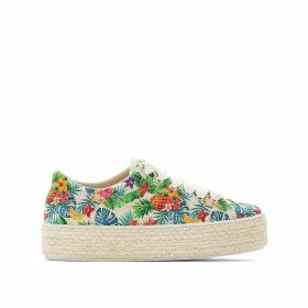 Fruit Print Woven Flatform Trainers