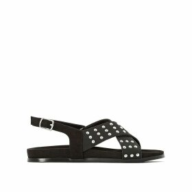 Faux Suede Studded Flat Sandals