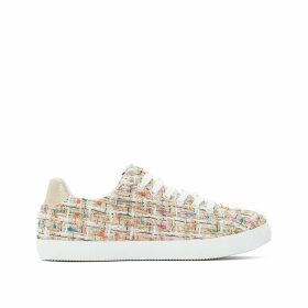 Woven Tweed Effect Low Top Trainers