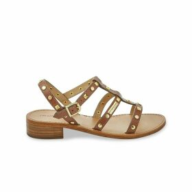 Leather Studded Strap Heeled Sandals