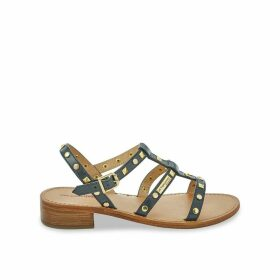 Bam Leather Studded Sandals with Block Heel