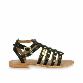 Hiclou Leather Studded Gladiator Sandals