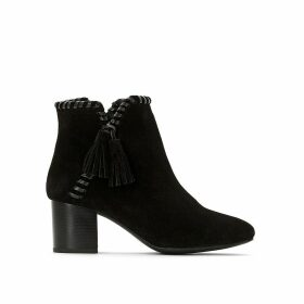 Suede Heeled Ankle Boots with Plaited Edging and Tassel Trim