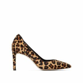 Leather Leopard Print Stiletto Heels