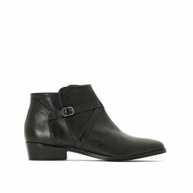 Premium Leather Ankle Boots with Block Heel