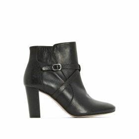 Premium Leather Ankle Boots with High Heel and Strap Detail