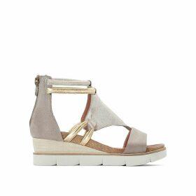 Tapasita Leather Metallic Wedge Heel Sandals