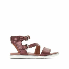 Katana Metallic Leather Flat Sandals