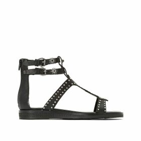 Temple Leather Flat Studded Sandals